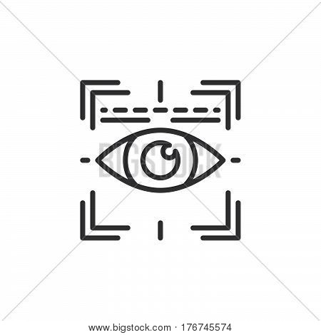 Eye scan line icon outline vector sign linear pictogram isolated on white. Iris scanner symbol logo illustration
