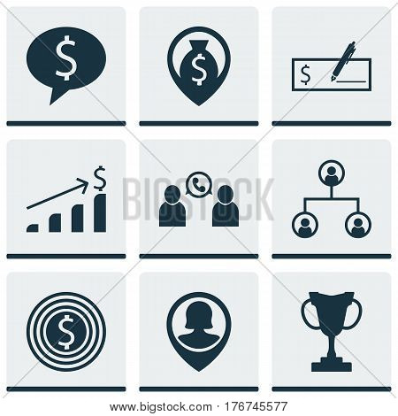 Set Of 9 Human Resources Icons. Includes Tree Structure, Phone Conference, Pin Employee And Other Symbols. Beautiful Design Elements.