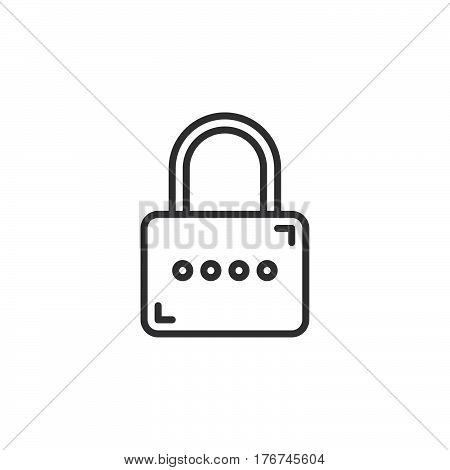 Padlock Lock line icon outline vector sign linear pictogram isolated on white. Password symbol logo illustration