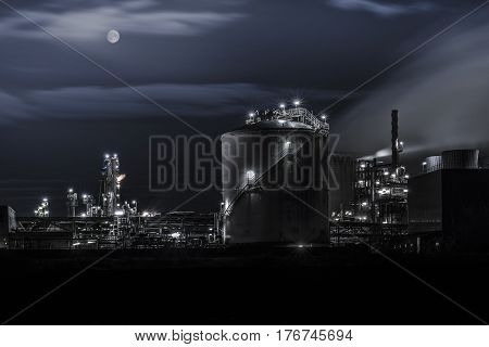 Nightshot of chemical plant in Wesseling near Cologne.