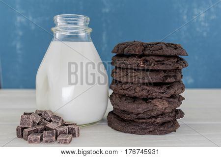 Tall Stack of Double Chocolate Cookies with Milk and Chocolate Chunks