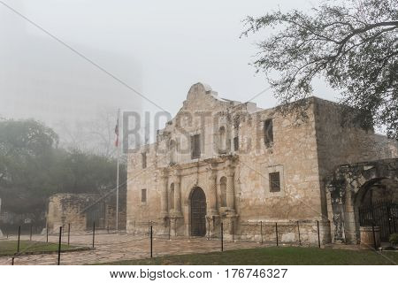 The Alamo in the Fog From the Right before tourists arrive for the day
