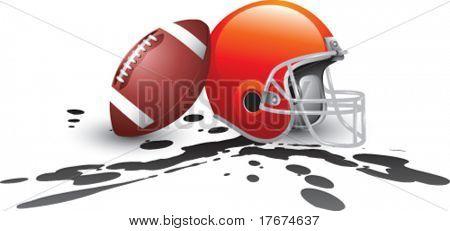 football and helmet muddy