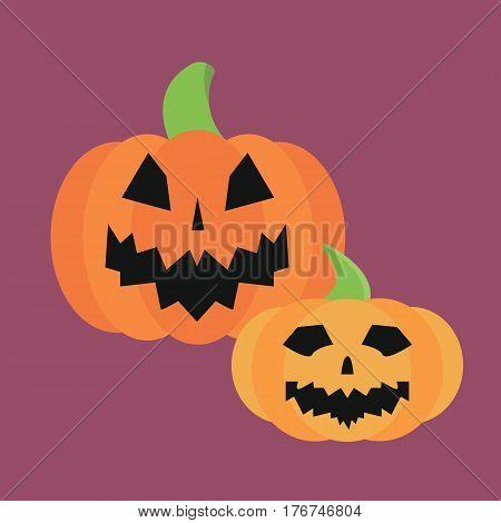 Fresh orange pumpkin seasonal ripe food raw vegetarian vegetable halloween icon traditional trick or treat celebration cemetery vector illustration. Darkness decoration design fantasy fear.