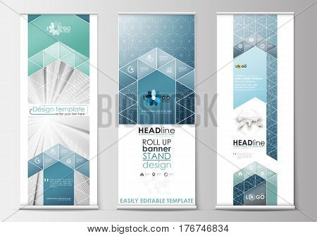 Set of roll up banner stands, flat design templates, abstract geometric style, modern business concept, corporate vertical vector flyers, flag banner layouts. Abstract blue or gray pattern with lines, modern stylish vector texture.