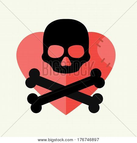 Skull and crossbones mark of the danger warning on red heart and dead skeleton horror art human halloween symbol vector illustration. Pirate evil spooky graphic tattoo icon.