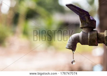 water drop from tap with blur nature background ,Leaking water