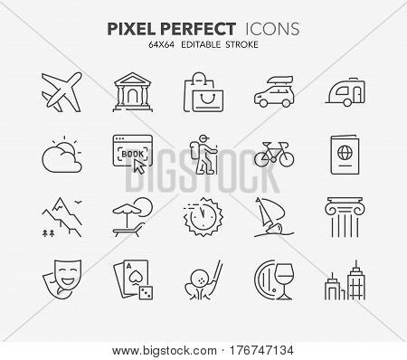 Set of travel tourism transportation thin line icons. Contains icons as airplane booking online last minute deals ecotourism cultural tourism and more. Editable vector stroke. 64x64 Pixel Perfect.