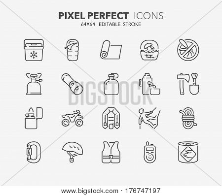 Set of outdoor and camping activities thin line icons. Contains icons as mycological tourism survival equipment quad bike climbing equipment and more. Editable vector stroke. 64x64 Pixel Perfect.
