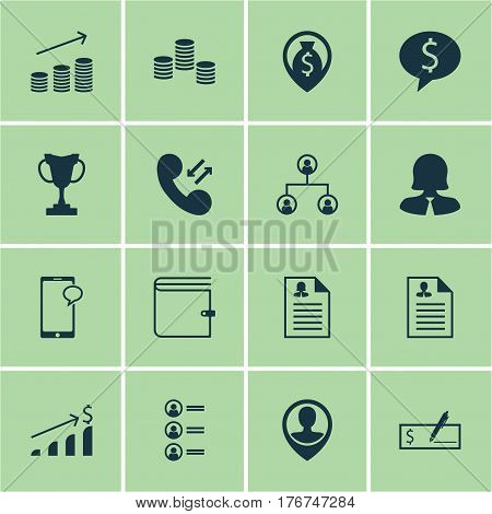 Set Of 16 Hr Icons. Includes Tree Structure, Business Woman, Curriculum Vitae And Other Symbols. Beautiful Design Elements.