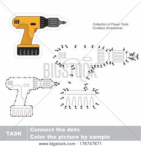 Cordless screwdriver in vector to be traced by numbers, easy educational kid game.