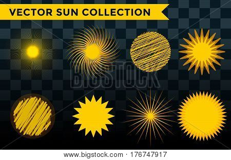 Sun burst or star logo icon set. Sunshine star and sunlight. Nature sun in summer. Star vector icons . Star sun silhouette isolated