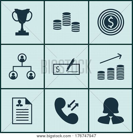 Set Of 9 Human Resources Icons. Includes Curriculum Vitae, Business Goal, Cellular Data And Other Symbols. Beautiful Design Elements.