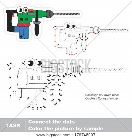 Cordless rotary hammer in vector to be traced by numbers, easy educational kid game.