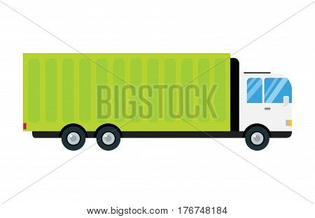 Delivery transport cargo logistic vector illustration isolated on white background. Commercial highway industrial city truck. Fast shipment distribution export courier car.