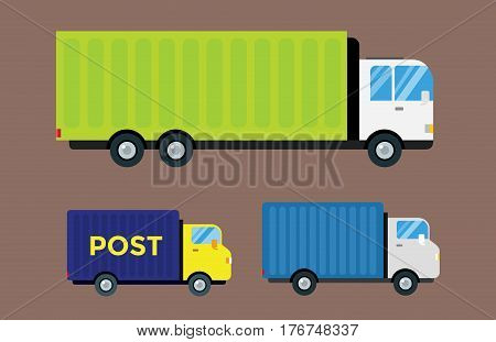 Delivery transport cargo logistic vector illustration set isolated on background. Commercial highway industrial city truck. Fast shipment distribution export courier car.
