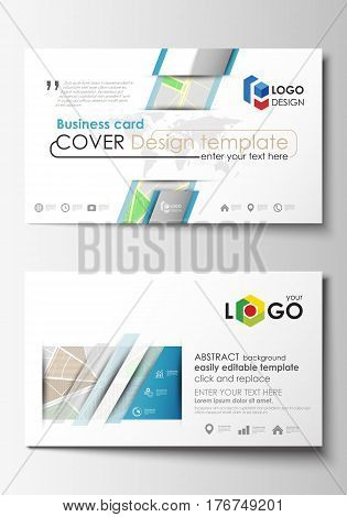 Business card templates. Easy editable layout. City map with streets. Flat design cover template for tourism businesses, abstract vector illustration