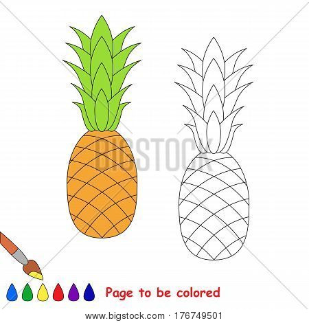 The pineapple to be colored. Coloring book to educate kids. Learn colors. Visual educational game. Easy kid gaming and primary education. Simple level of difficulty. Coloring pages.