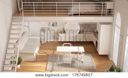 Scandinavian Minimalist Loft, One-room Apartment With White Kitchen, Living And Bedroom, Top View, C
