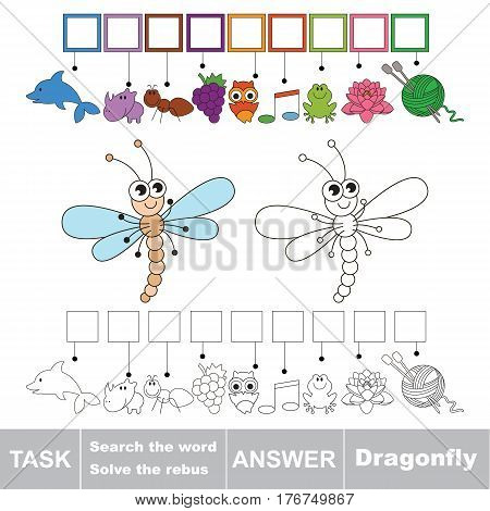 Vector rebus game for children. Easy educational kid game. Simple game level. Find solution and write the hidden word Dragonfly