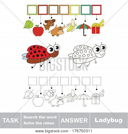 Vector rebus game for children. Easy educational kid game. Simple game level. Find solution and write the hidden word Ladybug.