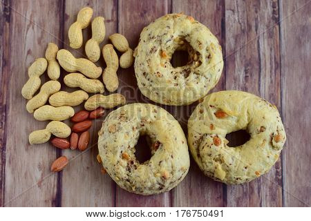 Homemade baked chewy peanut bagels for breakfast