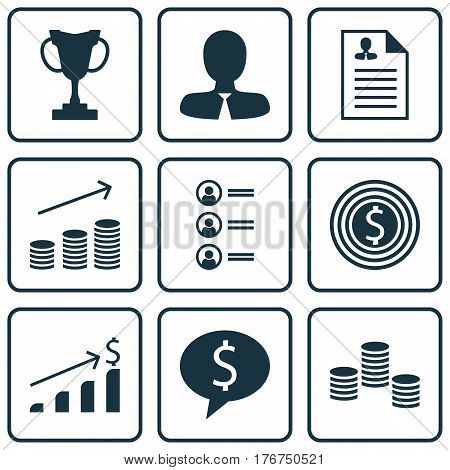 Set Of 9 Hr Icons. Includes Manager, Job Applicants, Business Goal And Other Symbols. Beautiful Design Elements.