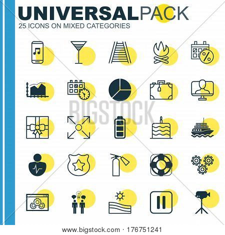 Set Of 25 Universal Editable Icons. Can Be Used For Web, Mobile And App Design. Includes Elements Such As Camcorder, Railroad, Range Line Graph And More.