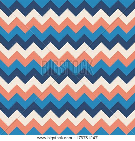 Chevron pattern seamless vector arrows geometric design colorful sky blue naval blue coral pink white