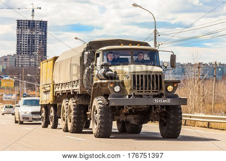 KHABAROVSK RUSSIA - APRIL 28 2016: URAL - russian military off road 6x6 truck on a road