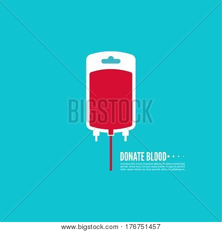 Abstract background with blood bag. donation. Vector image help the sick and needy. dropper with drop