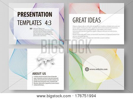 Set of business templates for presentation slides. Easy editable abstract layouts in flat design, vector illustration. Colorful design with overlapping geometric shapes and waves forming abstract beautiful background.