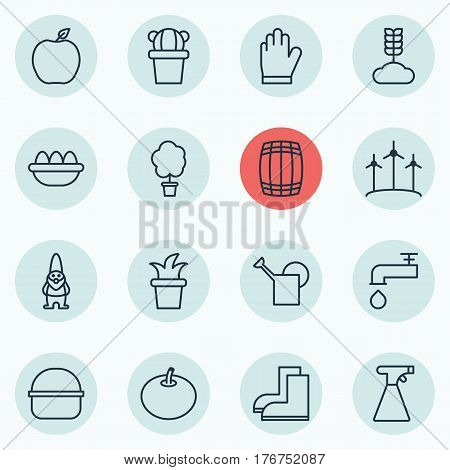 Set Of 16 Garden Icons. Includes Ovum, Bush Pot, Windmill And Other Symbols. Beautiful Design Elements.