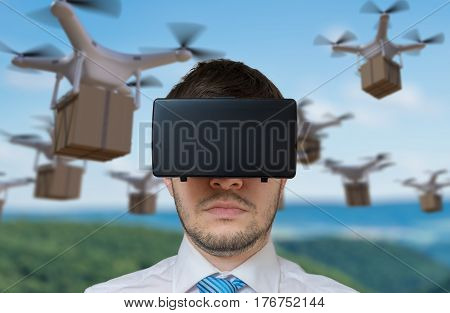 Man Wearing Virtual Reality Headset Is Controlling Many Flying D