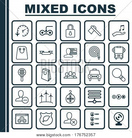 Set Of 25 Universal Editable Icons. Can Be Used For Web, Mobile And App Design. Includes Elements Such As Guard Tree, Song UI, Personal Skills And More.