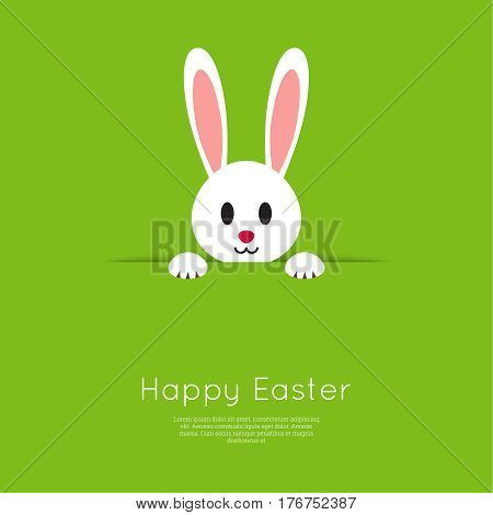 Easter Bunny pop out of the hole. Vector illustration. Green background with Easter funny rabbit.