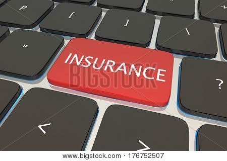 Insurance Buy Policy Coverage Online Computer Key 3d Illustration