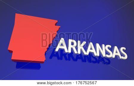 Arkansas AR Red State Map Name 3d Illustration