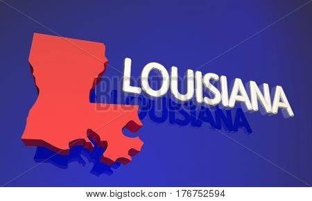 Louisiana LA Red State Map Name 3d Illustration