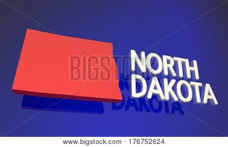 North Dakota ND Red State Map Name 3d Illustration
