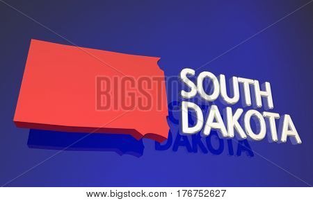 South Dakota SD Red State Map Name 3d Illustration