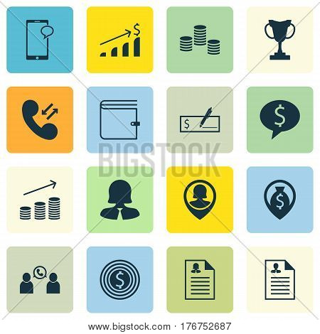 Set Of 16 Human Resources Icons. Includes Phone Conference, Coins Growth, Business Woman And Other Symbols. Beautiful Design Elements.