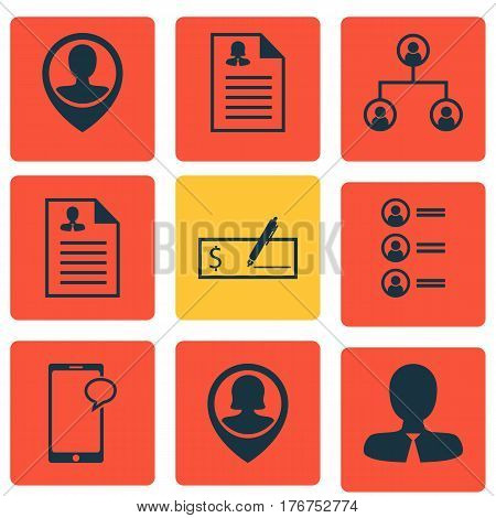 Set Of 9 Human Resources Icons. Includes Pin Employee, Manager, Curriculum Vitae And Other Symbols. Beautiful Design Elements.