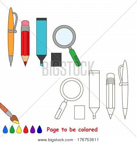 Pen, pencil, marker and zoom to be colored, the coloring book to educate preschool kids with easy kid educational gaming and primary education of simple game level of difficulty.