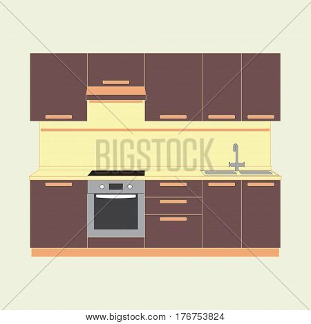 Kitchen interior and kitchen furniture. Colorful vector illustration in flat style.