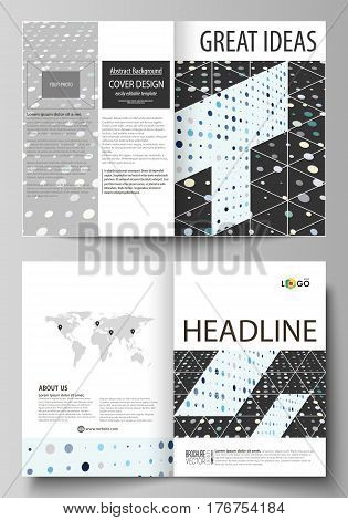 Business templates for bi fold brochure, magazine, flyer, booklet or annual report. Cover design template, easy editable vector, abstract flat layout in A4 size. Abstract soft color dots with illusion of depth and perspective, dotted technology background