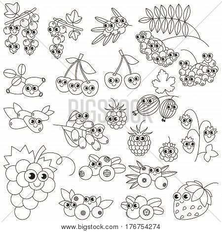 Set of funny cartoon berries to be colored. Coloring book to educate kids. Learn colors. Visual educational game. Easy kid gaming and primary education. Simple level of difficulty. Coloring pages.