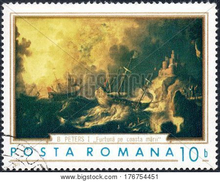 A stamp printed in the Romania shows Ships in Storm Painting by B. Peters circa 1971