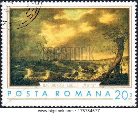 UKRAINE - CIRCA 2017: A stamp printed in the Romania shows ships in the storm by Ludolf Buckhuysen 1630-1708 circa 1971