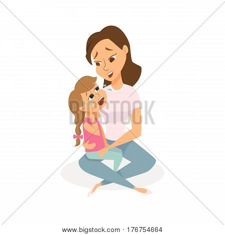 The daughter is crying and her mother is calming and taking care. Mom and child are sad. Girl is wiping tears and a woman is hugging her. Cartoon vector characters isolated on white